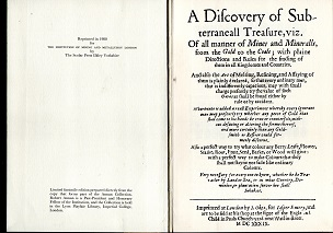 [USED] A Discovery of Subterranean Treasure ( A Difcovery of Subterraneall Treafure  1980 IMM Reprint of 1639 original) :of all Manner of Mines from Gold to Coal  Viz.of All Manner of Mines and Minerals, from the Gold to Coal; with Plain directions and ru